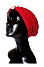 Red Ribbed Knit Satin or Anti-Microbial Lined Slouch Beanie