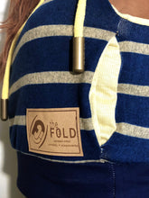 SM/MD Hood Crop Jacket: Blue Yellow Stripe Super Soft Light Weight