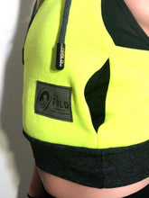XS/SM Hood Crop Jacket: Neon Yellow Sweatshirt lined with Black Athletic Mesh