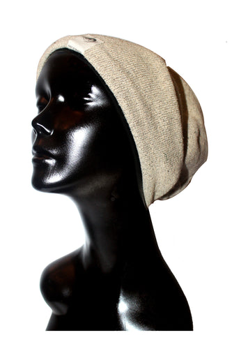 Nantuket Fleece Heather Tan Satin or Anti-Microbial Lined Slouch Beanie