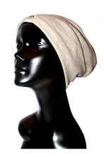 Oatmeal Double Ribbed Knit Satin or Anti-Microbial Lined Slouch Beanie