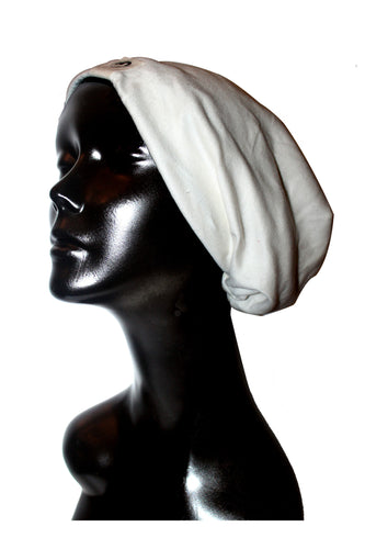 Cream Cotton Satin or Anti-Microbial Lined Slouch Beanie