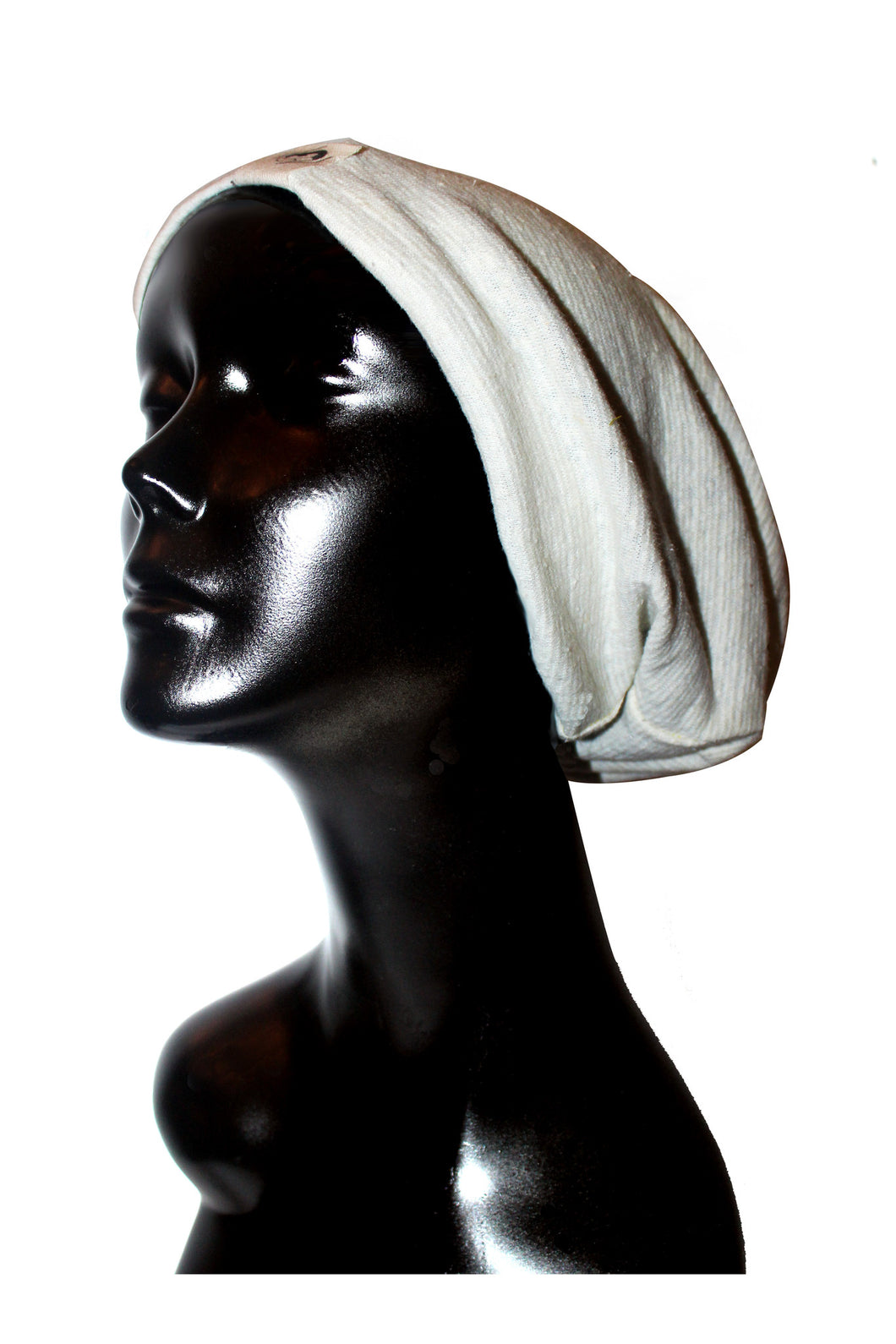 Winter White Ribbed Knit Cotton Satin or Anti-Microbial Lined Slouch Beanie