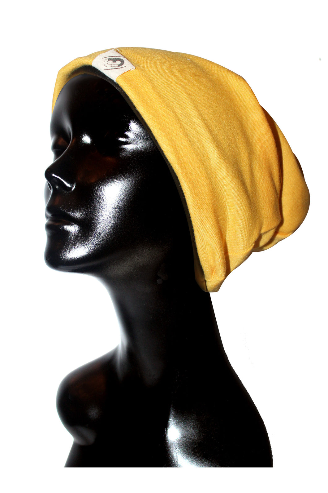 Yellow Ribbed Knit Cotton Satin or Anti-Microbial Lined Slouch Beanie