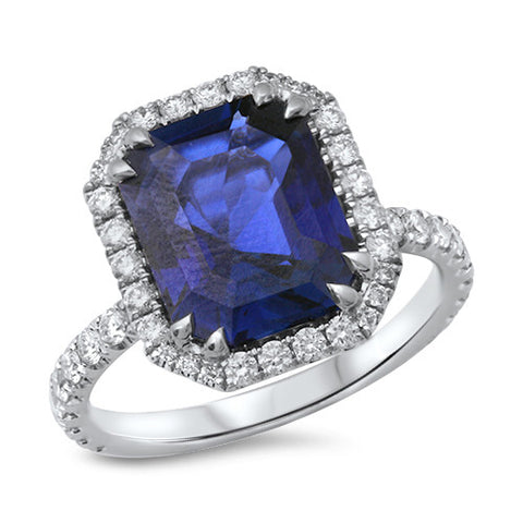 5.08ct Emerald Blue Sapphire Ring with Diamond Halo in 18K White Gold