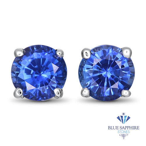 0.91ctw Round Blue Sapphire Earrings in 14K White Gold