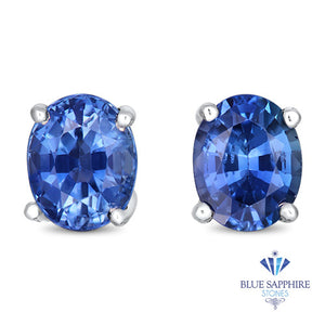0.96ctw Oval Blue Sapphire Earrings in 14K White Gold