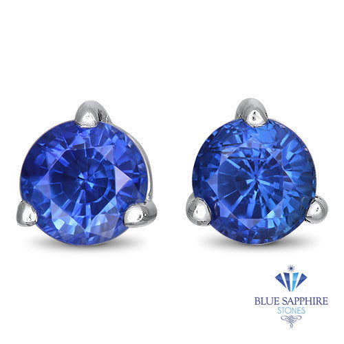 1.05ctw Round Blue Sapphire Earrings in 14K White Gold
