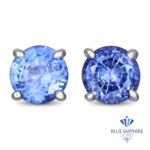 1.10ctw Round Blue Sapphire Earrings in 14K White Gold
