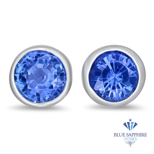 1.17ctw Round Blue Sapphire Earrings in 14K White Gold