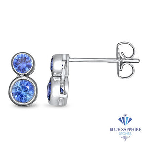 1.42ctw Round Blue Sapphire Earrings in 14K White Gold