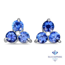 0.77ctw Round Blue Sapphire Earrings in 14K White Gold