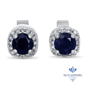 0.77ctw Round Blue Sapphire Earrings with diamond halo in 18K White Gold