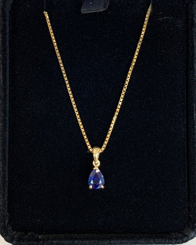0.74ct Pear Shaped Blue Sapphire in 14K Yellow Gold Custom Made for Noelle Yousef