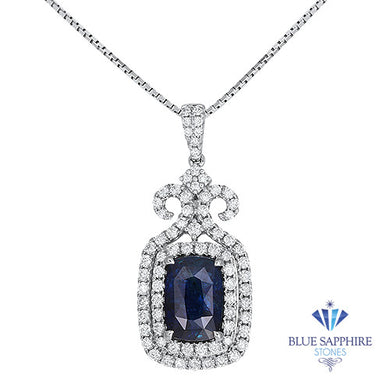 5.85ct Cushion Blue Sapphire Pendant with Double Diamond Halo in 18K White Gold