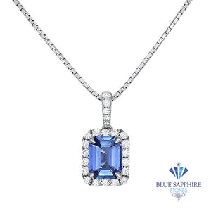 2.35ct Emerald Cut Blue Sapphire Pendant with Diamond Halo in 18K White Gold