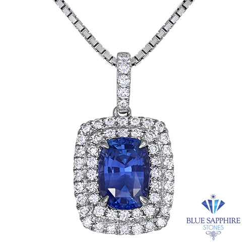 2.35ct Cushion Blue Sapphire Pendant with Double Diamond Halo in 18K White Gold