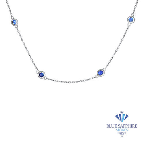 1.01ctw Round Blue Sapphire Necklace in 14K White Gold