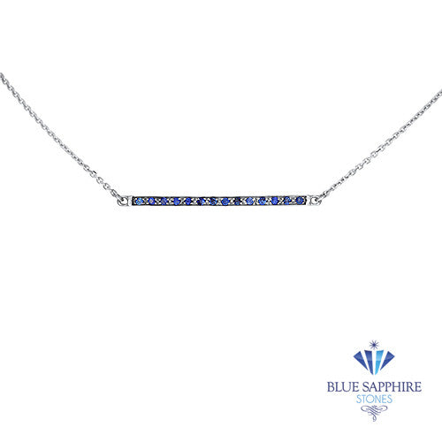 0.18ctw Round Blue Sapphire Bar Necklace in 14K White Gold