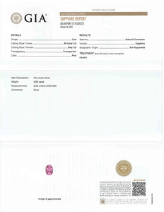 0.82 ct. GIA Certified Oval Pink Sapphire
