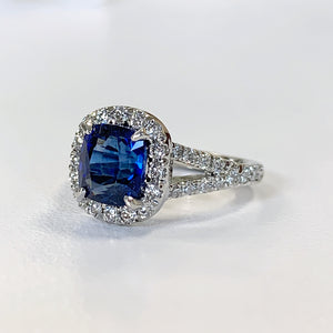 2.05ct EGL Certified Sapphire and Diamond Halo Ring in Platinum