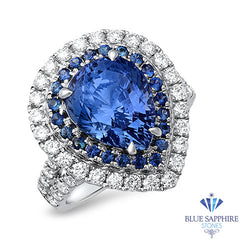 6.08ct Pear Shaped Blue Sapphire with sapphire and diamond halo in 18K White Gold