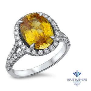 3.64ct Oval Yellow Sapphire Ring with Diamond Halo in 18K White Gold