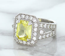 3.64ct Radiant Yellow Sapphire Ring with Diamond Halo in 18K White Gold