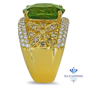 10.07ct Cushion Tourmaline Ring with Diamond Accents in 18K Yellow Gold