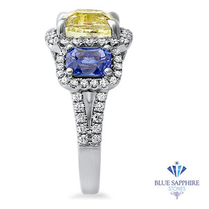 Multicolor Sapphire Ring with Diamond Halo in 18K White Gold