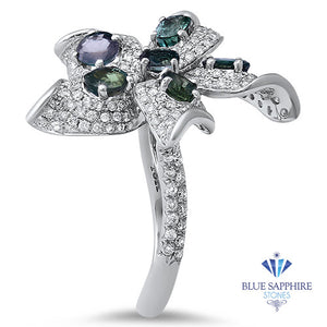 2.01ctw Oval Alexandrite Ring with Diamond Accents in 18K White Gold