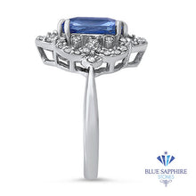 4.37ct Radiant Blue Sapphire Ring with Diamond Halo in Platinum