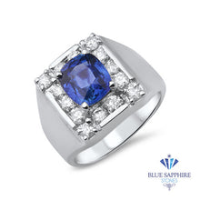 2.82ct Cushion Blue Sapphire Ring with Diamond Halo in 14K White Gold