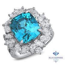 12.75ct Cushion Blue Zircon Ring with Diamond Halo in 18K White Gold