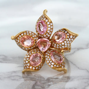 4.26ctw Padparadscha Ring with Diamond Accents in 18K Rose Gold