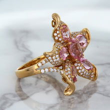 1.76ct GIA Certified Unheated Oval Padparadscha Sapphire Ring with Padparadscha and Diamond Accents in 18K Rose Gold