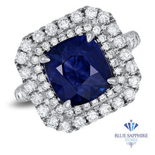 4.35ct Cushion Blue Sapphire Ring with Double Diamond Halo in 18K White Gold