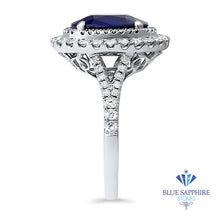 3.75ct Oval Blue Sapphire Ring with Diamond Halo in 18K White Gold