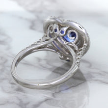 2.07ct Heart Shape Blue Sapphire Ring with Sapphire and Diamond Halo in 18K White Gold