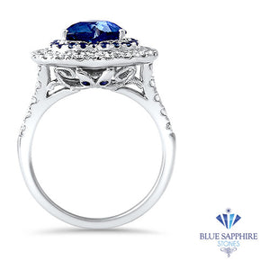 2.39ct Heart Shape Blue Sapphire Ring with Sapphire and Diamond Halo in 18K White Gold