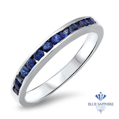 0.35ctw Round Blue Sapphire Ring in 18K White Gold