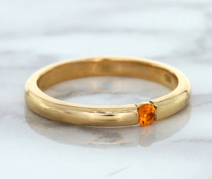 0.10ct Round Orange Sapphire Ring in 14K Rose Gold