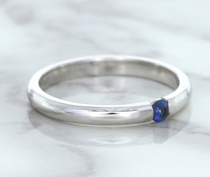 0.10ct Round Blue Sapphire Ring in 18K White Gold