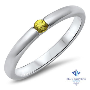0.10ct Round Yellow Sapphire Ring in 18K White Gold