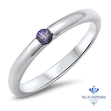 0.10ct Round Purple Sapphire Ring in 18K White Gold