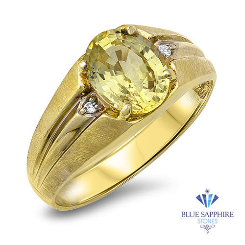 3.00ct Oval Yellow Sapphire Ring with Diamond Accents in 10K Yellow Gold