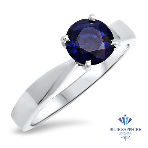 1.03ct Round Blue Sapphire Ring in 14K White Gold