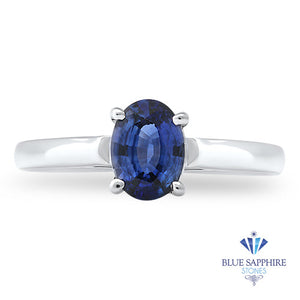 0.85ct Oval Blue Sapphire Ring in 14K White Gold