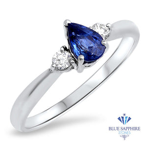 0.59ct Pear Blue Sappire Ring with diamond accents in 14K White Gold