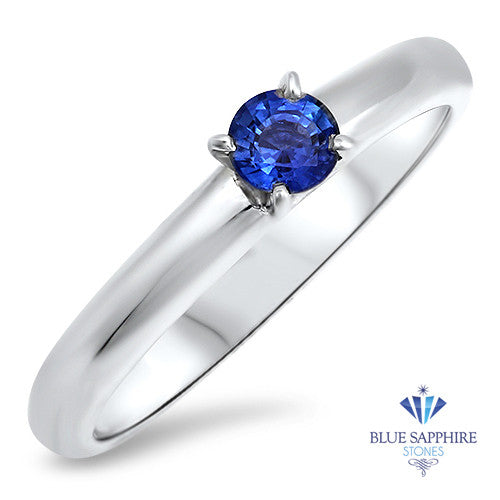 0.28ct Round Blue Sapphire Ring in 14K White Gold